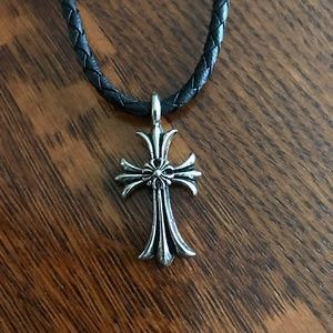 Jewelry - Silver Cross Pennant Black Leather Necklace